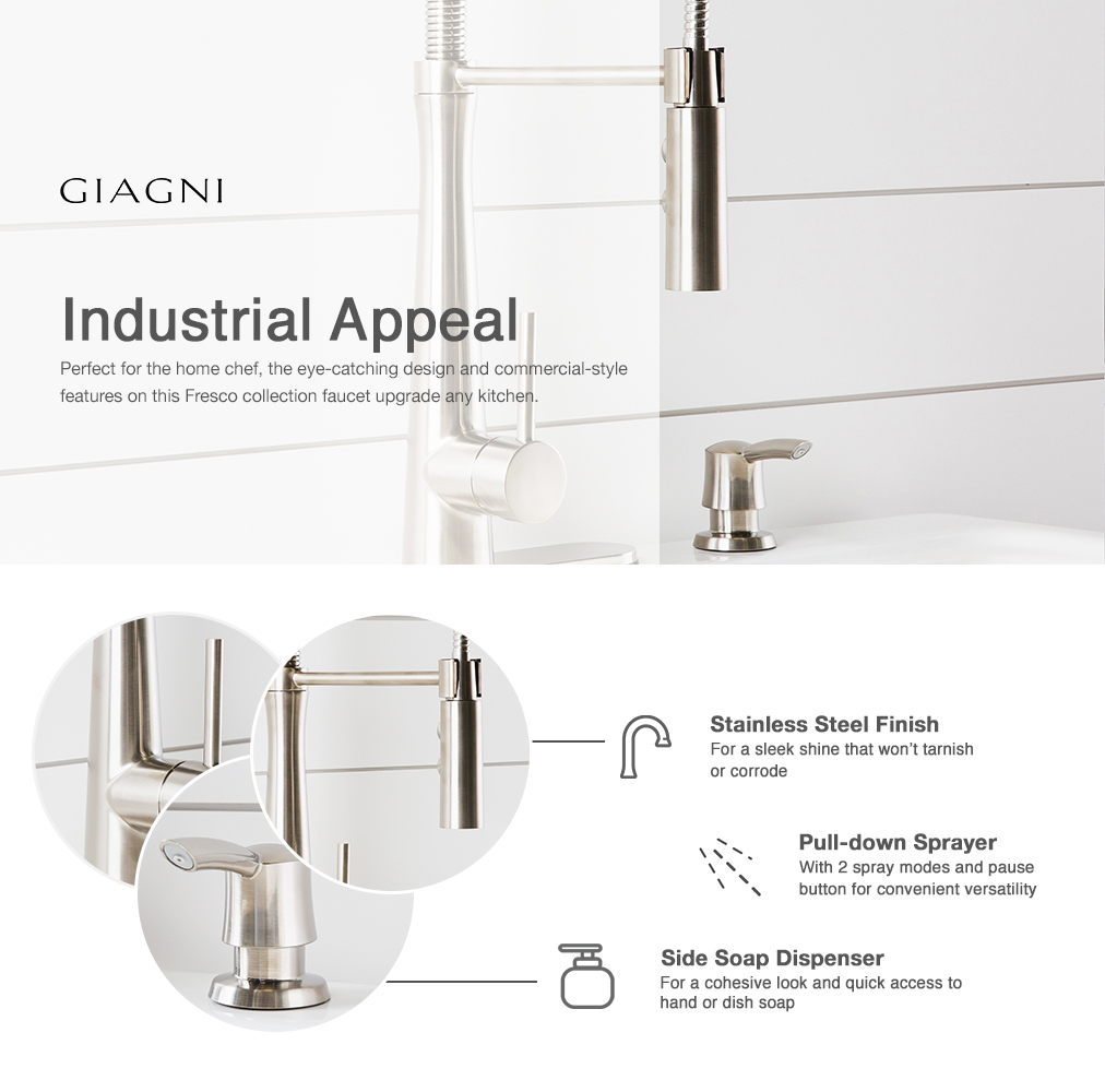 Shop Giagni Fresco Stainless Steel 1-Handle Deck Mount Pre-rinse ...