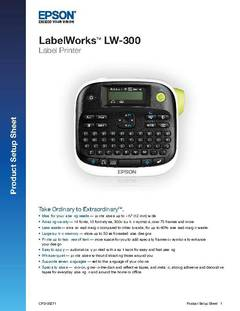 View LabelWorks LW-300 Product Setup Sheet PDF