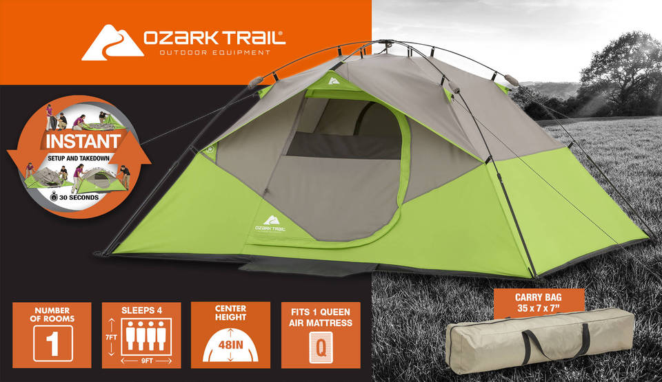 Technical Specification & Ozark Trail 9u0027 x 7u0027 Instant Dome Camping Tent Sleeps 4 - Walmart.com