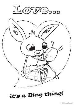 View Bing Valentines colouring in sheet PDF