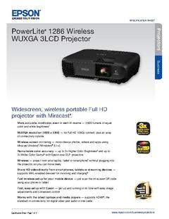 View Epson PowerLite 1286 Wireless WUXGA 3LCD Projector Product Specifications PDF