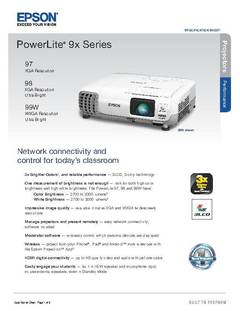 View PowerLite 99W Projector Product Specification Sheet PDF