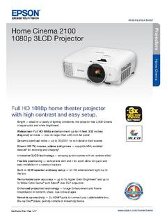 View Epson Home Cinema 2100 1080p 3LCD Projector Product Specifications PDF