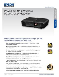 View Epson PowerLite 1266 Wireless WXGA 3LCD Projector Product Specifications PDF