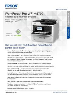 View Epson WorkForce Pro WF-M5799 Replaceable Ink Pack System Product Specifications PDF
