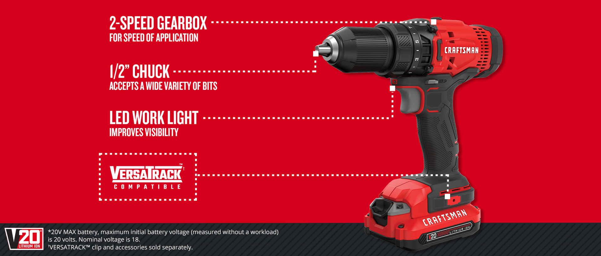 CRAFTSMAN V20 20-Volt Max 1/2-in Cordless Drill (Charger Included
