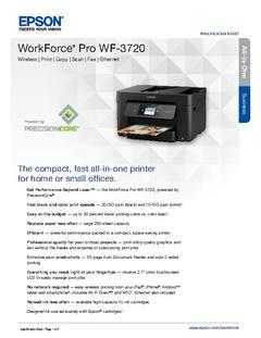 View Epson WorkForce Pro WF-3720 Product Specifications PDF