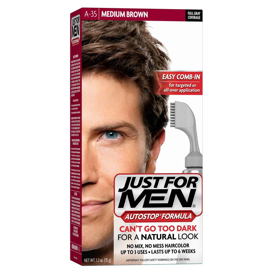 Just For Men Touch Of Gray Mustache and Beard, Easy Brush-In Facial ...