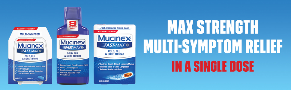 Maximum Strength Mucinex® Fast-Max® Cold, Flu & Sore Throat Liquid Gels,  16ct