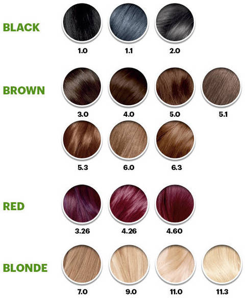 Hair Color Chart Of Garnier