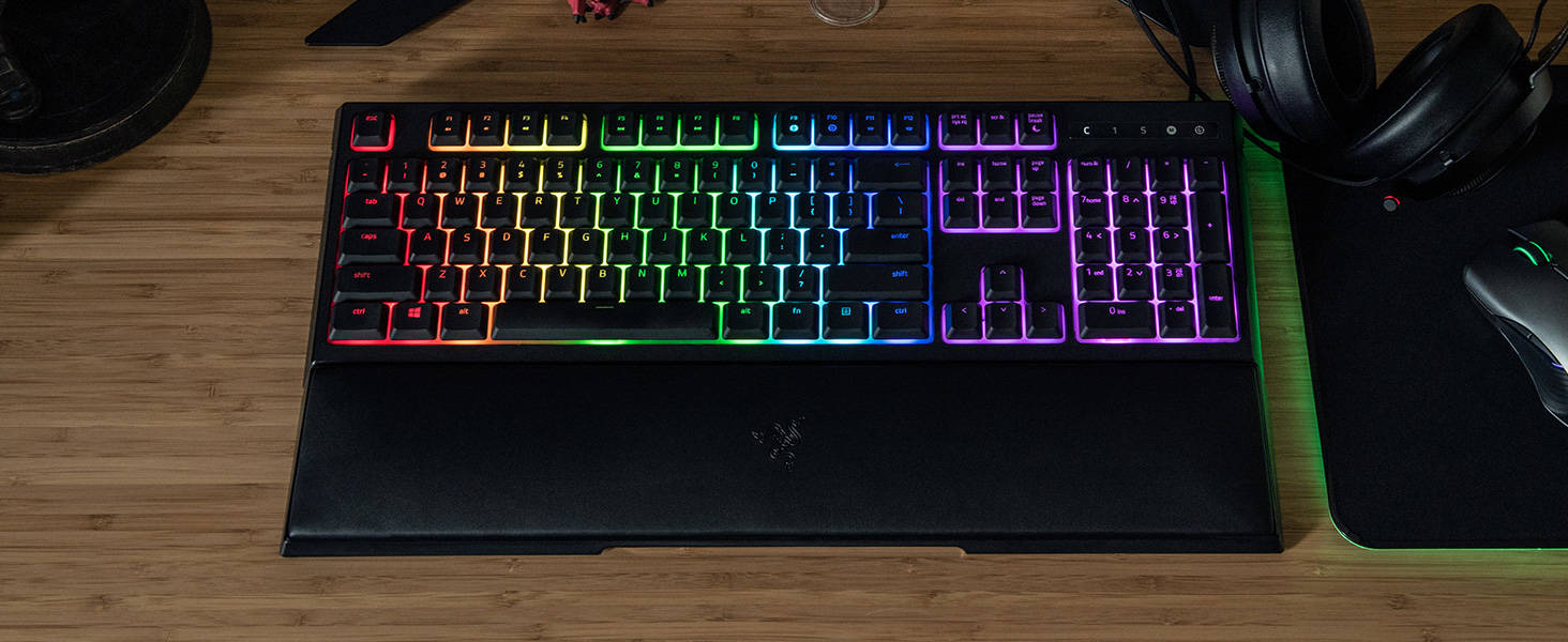 Razer Ornata Chroma Revolutionary Mecha-Membrane RGB Gaming KB w/  Individually Backlit Mid-Height Keys Wrist Rest Ergonomic