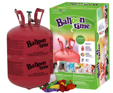 Balloon Time 95in Helium Tank Kit Includes 30 Balloons Ribbon