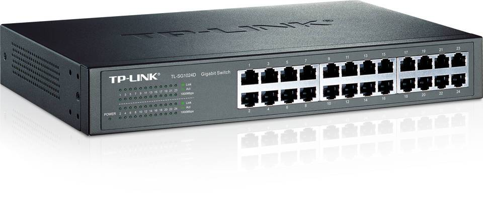 TP-LINK TL-SG1024D Unmanaged 10/100/1000Mbps 24-Port Gigabit  Desktop/Rackmount Switch - Newegg com