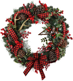 Buffalo Check Christmas Wreath.30 In Pre Lit Battery Operated Vine Artificial Christmas Wreath With White Warm Led Lights