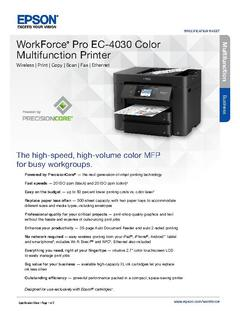 View Epson WorkForce Pro EC-4030 Color Multifunction Printer Product Specifications PDF