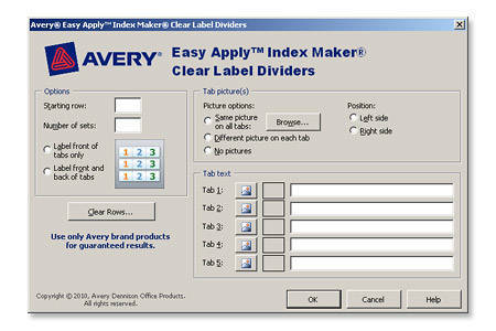 Avery index maker easy apply clear label dividers with for Avery easy apply 5 tab template