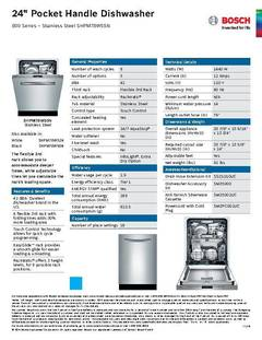 View Spec Sheet - Dishwasher - SHPM78W55N PDF