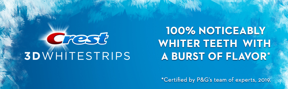 100% noticeably whiter teeth with a burst of flavor with Crest 3D Whitestrips