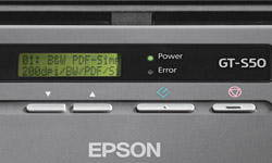 The Epson WorkForce Pro GT-S50 features 10 user-definable scan jobs displayed on 2 line x 16 character LCD.