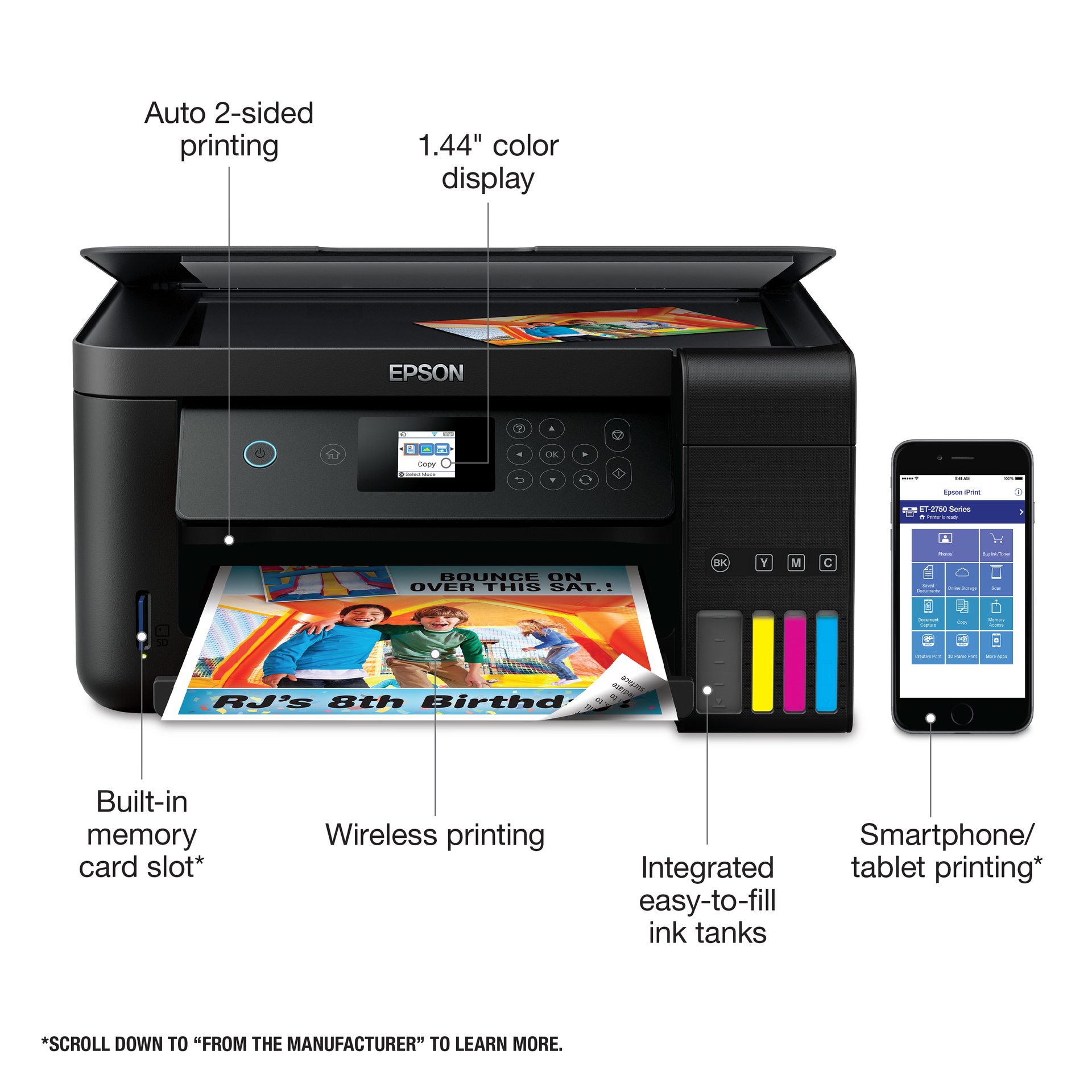 Epson Expression EcoTank ET-2750 Wireless Color All-in-One Inkjet Printer,  33ppm Mono/15ppm Color, 5760x1440 dpi Print Resolution, 100 Sheet Standard