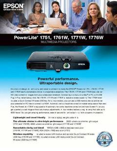 PowerLite 1761W Product Specifications - opens PDF