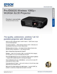 View Epson Pro EX9220 Wireless 1080p+ WUXGA 3LCD Projector Product Specifications PDF