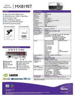 View MX819ST Specification Sheet PDF