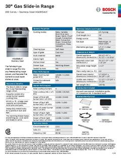 View Spec Sheet -- Gas Slide-in Range -- HGI8054UC PDF