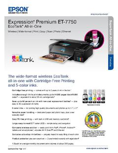View Epson Expression Premium ET-7750 EcoTank All-in-One Product Specifications PDF