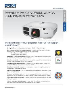 View PowerLite Pro G6770WUNL Product Specifications PDF