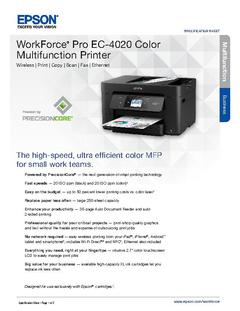 View Epson WorkForce Pro EC-4020 Color Multifunction Printer Product Specifications PDF