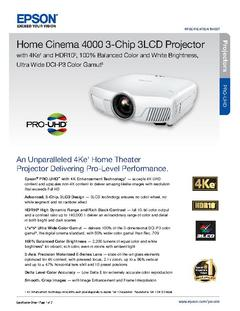View Epson Home Cinema 4000 3-Chip 3LCD Projector Product Specifications PDF