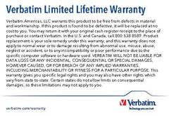 View Verbatim Limited Lifetime Warranty PDF