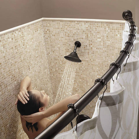 The Moen Tension Curved Shower Rod Is Bowed To Offer Extra Room In An Adjustable Design Allows It Install Showers
