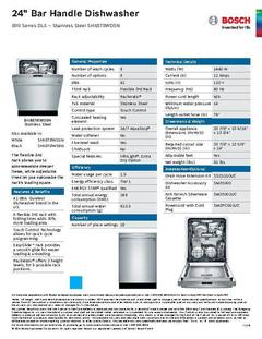 View Spec Sheet - Dishwasher - SHX878WD5N PDF