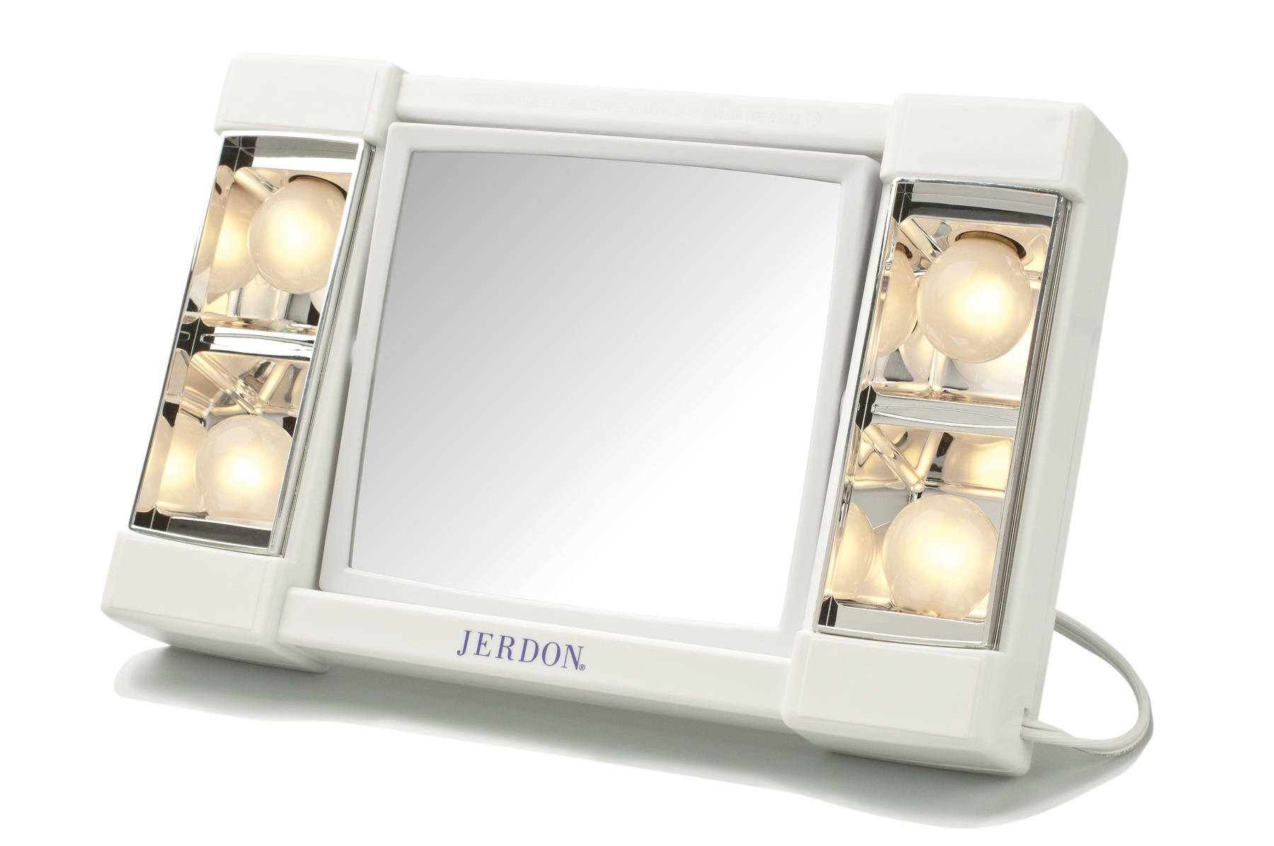 Jerdon Euro Tabletop Tri Fold 2 Sided Lighted Makeup