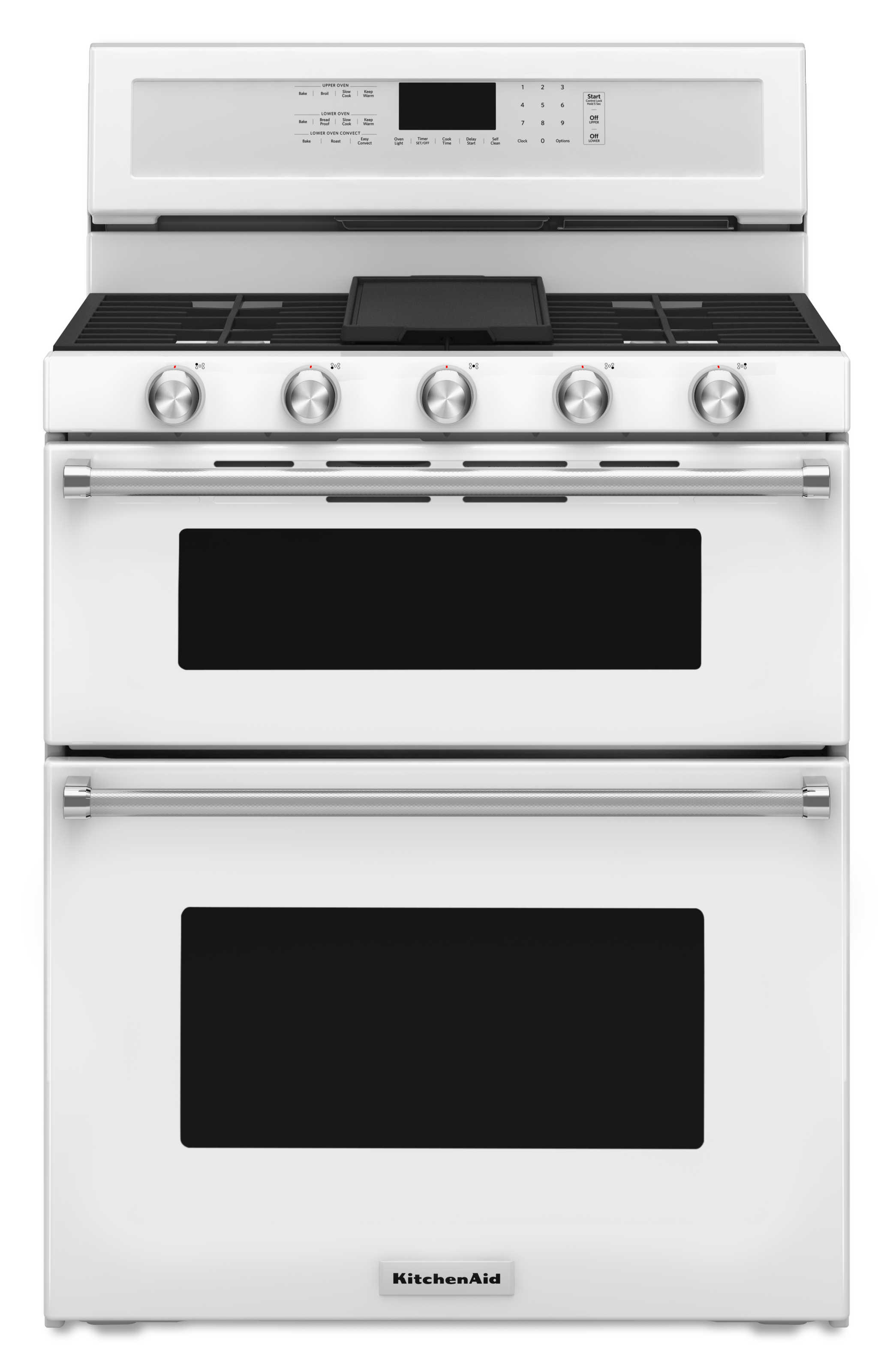 5 Burners 3.9-cu ft / 2.1-cu ft Self-cleaning Double Oven Convection Gas  Range (White) (Common: 30-in; Actual: 29.94-in)