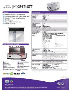 MX842UST Specification Sheet - opens PDF