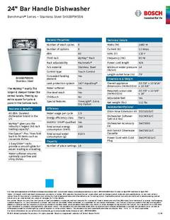 View Spec Sheet - Dishwasher - SHX88PW55N PDF