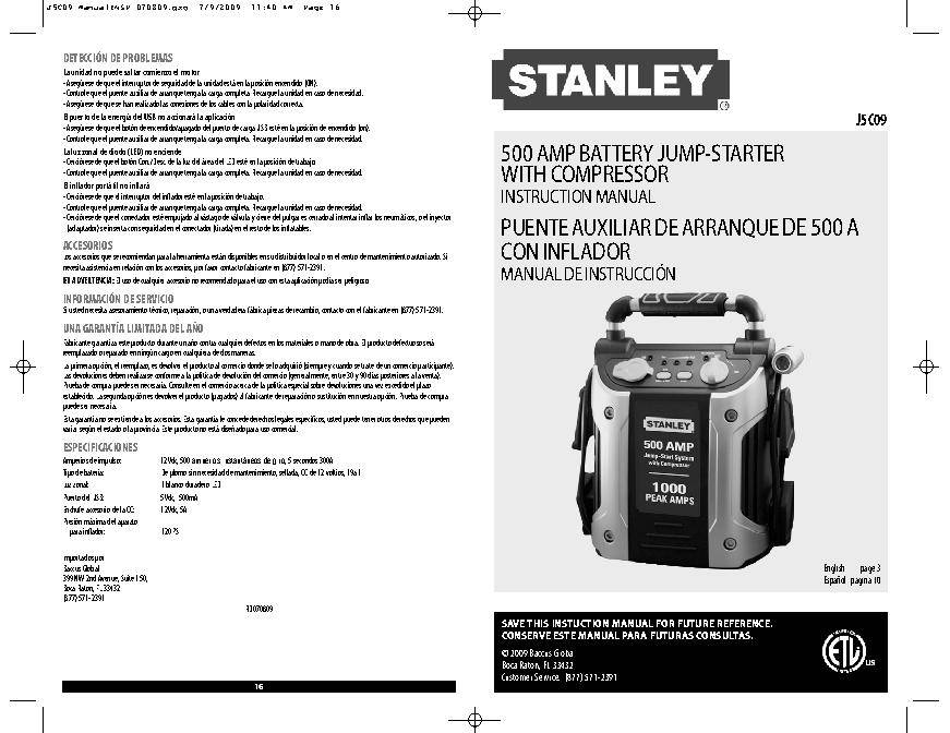 Stanley 1000 Amp Peak Jump Starter With Compressor