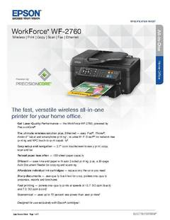 View Epson WorkForce WF-2760 All-in-One Product Specifications PDF