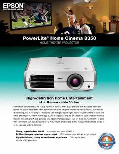 PowerLite Home Cinema 8350 Specifications  - opens PDF
