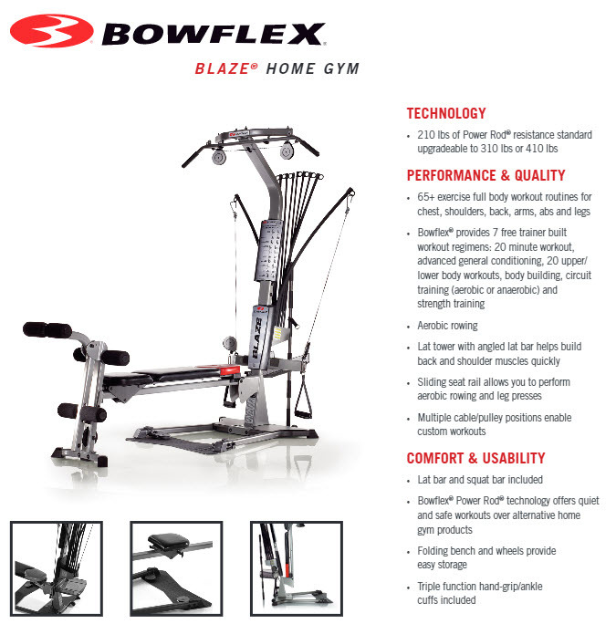 Bowflex Blaze Home Gym With 60 Exercises And 210 Lbs Power Rod