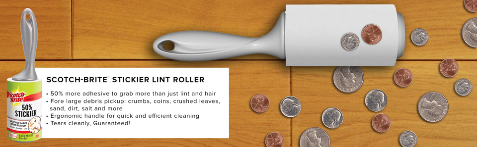 Scotch-Brite™ Stickier Lint Roller picking up coins