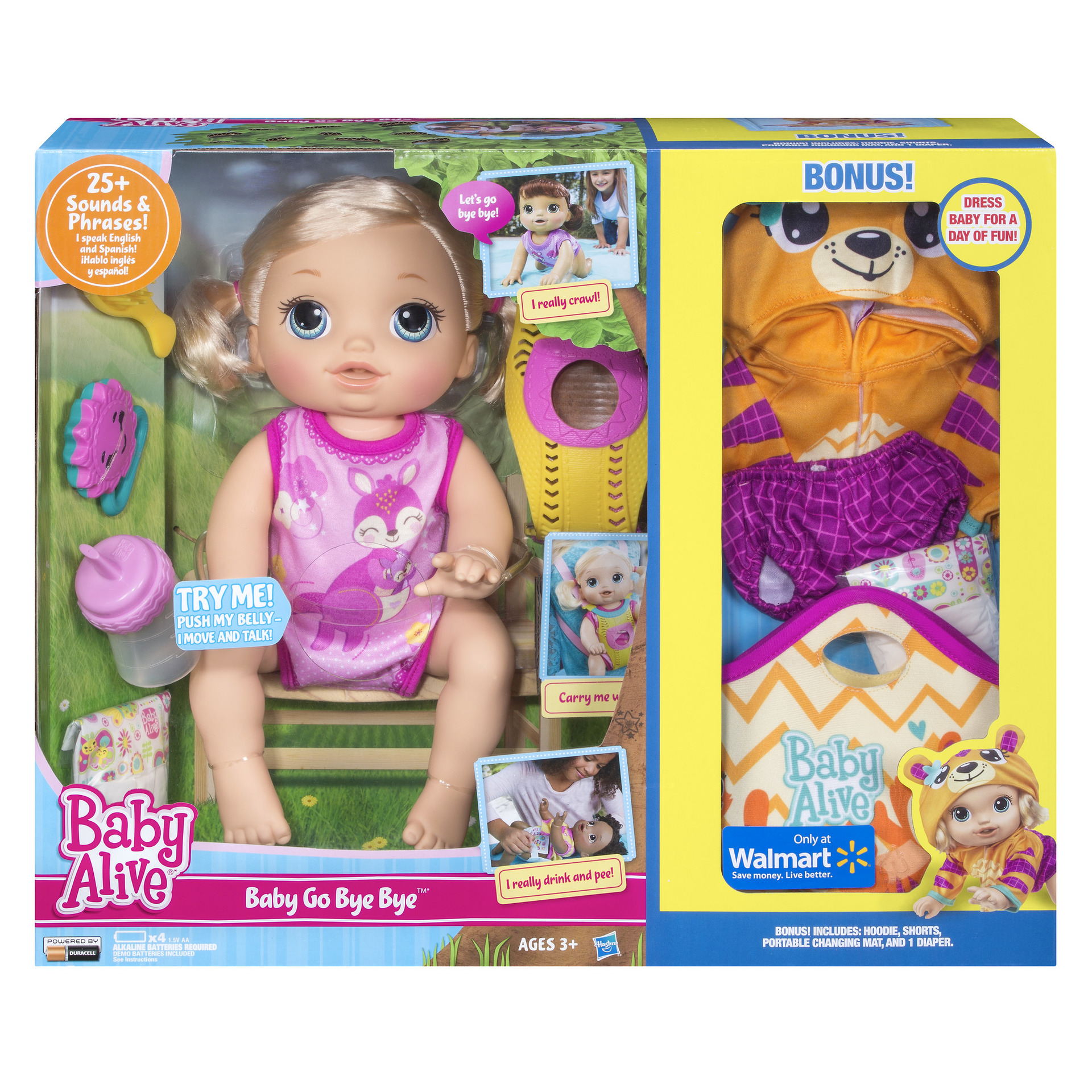 Baby Alive Baby Go Bye Bye Blonde Hair Exclusive Value Bundle