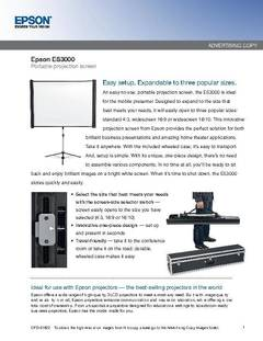 View ES3000 Ultra Portable Projector Screen - Detailed Features PDF