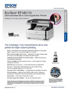 View Epson EcoTank ET-M2170 Monochrome All-in-One Supertank Printer Product Specifications PDF
