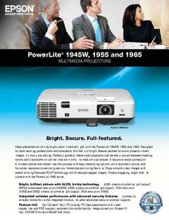 View PowerLite 1945W Product Specifications PDF