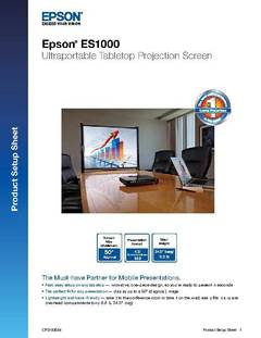View ES1000 Ultraportable Tabletop Projection Screen - Specifications PDF