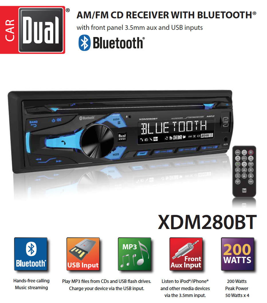 Dual Electronics Xdm280bt Multimedia Detachable 37 Inch Lcd Single Gps Gt Car Audio Video Installation Amplifier Kits Din Stereo With Built In Bluetooth Cd Usb Mp3 Wma Player